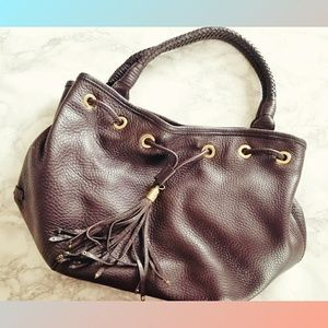Drawstring Hobo Bag Leather Cole Haan Brown Gold